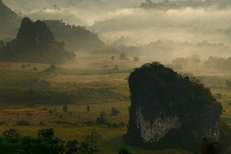 Misty morning in Nan Province