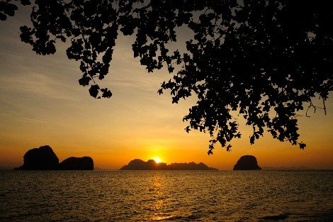Sunset at Haad Pakmeng beach in Trang