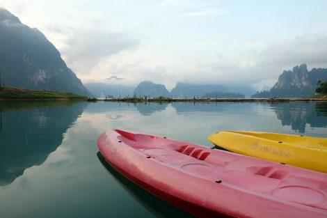 Kayaks on Cheow Lan Lake in Khao Sok National Park