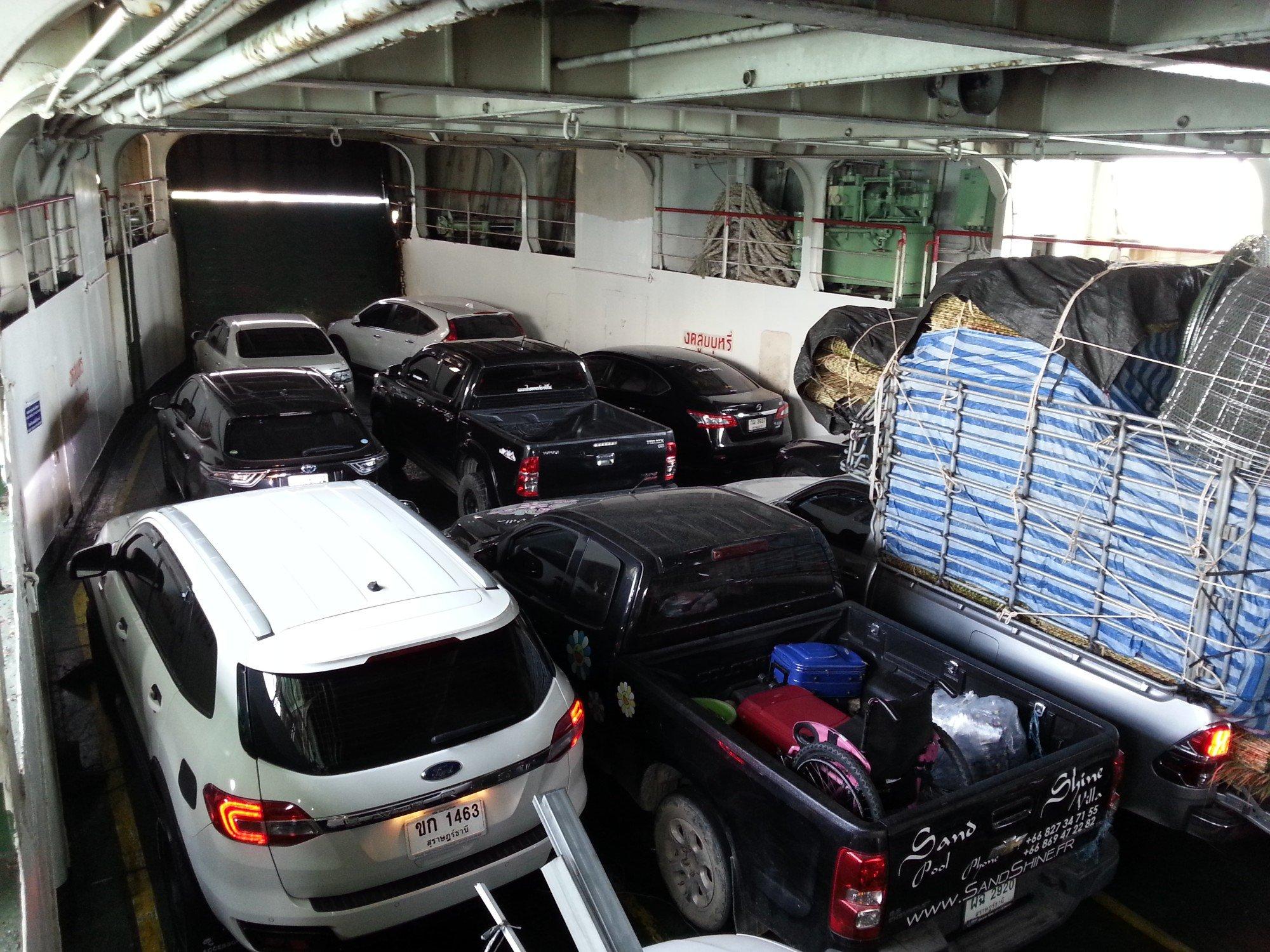 Car deck in the Raja Ferry