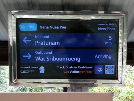 Electronic display boards on the Khlong Saen Saep canal boat system