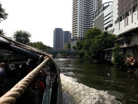 Khlong Saen Saep canal boats pass through Bangkok city centre