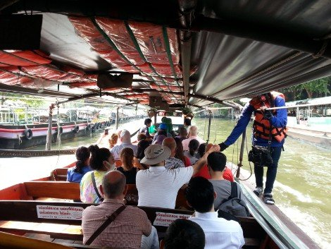 Seating on a Khlong Saen Saep canal boat