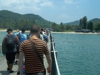 Arrival at the ferry pier in Chumphon